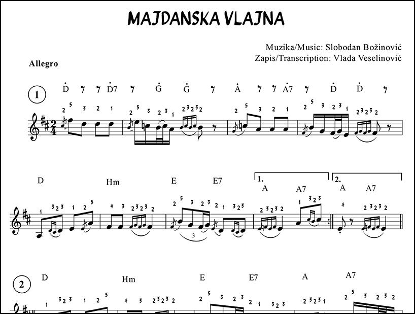 Harmonika Balkana - note za harmoniku - Majdanska Vlajna - primer