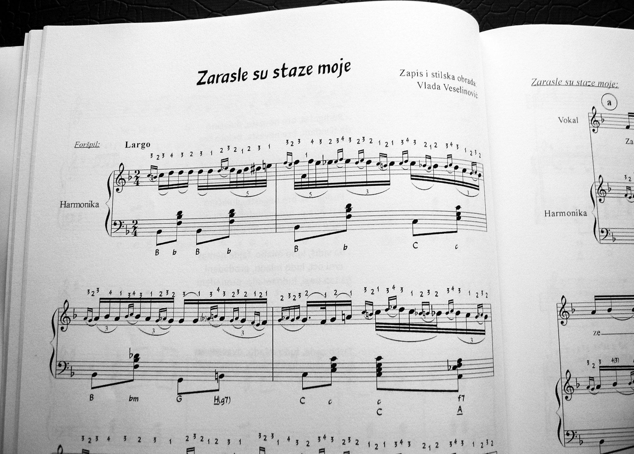 """Primer notnog zapisa iz knjige """"Pesma i harmonika"""""""